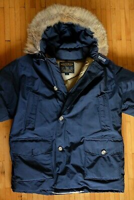 £230 • Buy Men's Woolrich Goose Down Navy ARCTIC Hooded Parka Real Fur XL EXCELLENT