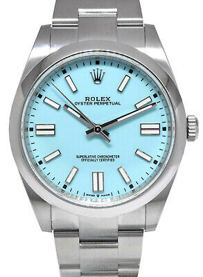 $ CDN21510.56 • Buy NEW Rolex Oyster Perpetual Steel Turquoise Dial 41mm Watch Box/Papers 124300