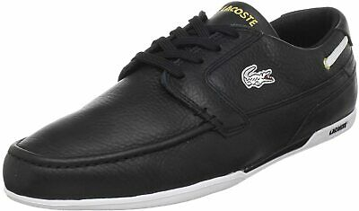 Lacoste Men Boat Shoe Sneakers Dreyfus Size US 8 Black Eco Leather • 49.60£