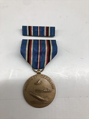 £14.20 • Buy Original US WW2 American Campaign And Service Medal & Ribbon