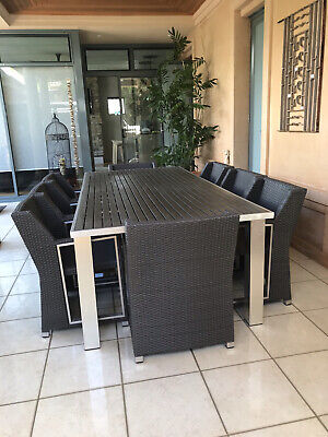 """AU850 • Buy Outdoor Dining Table 8 Chairs Great Preowned Condition  """" Table Extension """""""