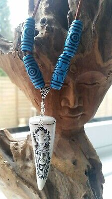 £24.99 • Buy Native American Necklace Blue White Chief Buffalo Suede CLEANSED Warrior Black