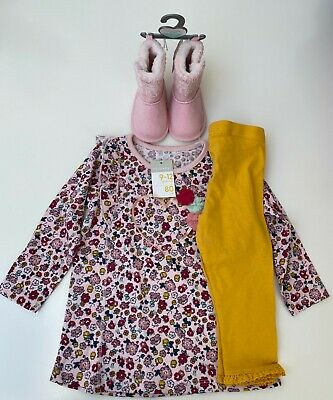 Baby Girl Set 9-12 Months - Floral Top, Leggings And Boots • 4.99£