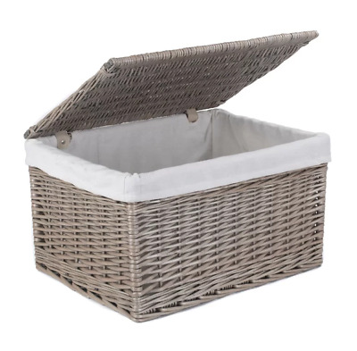 Lidded Grey Wicker Basket Storage Extra Large 27 H X 47 W X 35cm D TopFurnishing • 62.97£