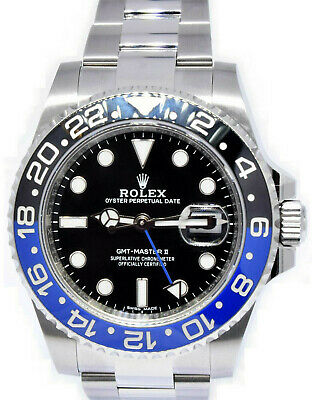 $ CDN22663.68 • Buy Rolex GMT-Master II Black/Blue BATMAN Ceramic Steel Watch Box/Papers '18 116710