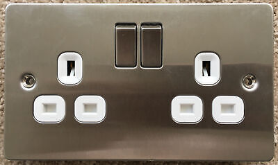 LAP 13A 2-Gang DP Switched Plug Socket, Polished Chrome With White Inserts • 1.80£