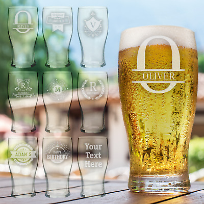 £8.99 • Buy Personalised Pint Glass Laser Engraved Beer Glass Any Text Drinkware Gift