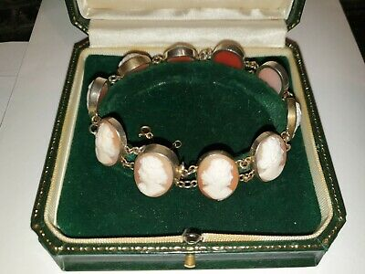 Victorian 10 Carved Shell Cameos Silver Bracelet And 3 Cameo & Silver Necklace • 295£