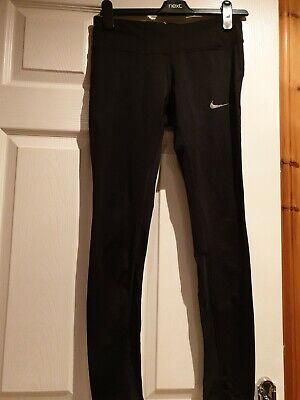 Ladies Dri-Fit Nike Black Running Leggings With Mesh Panels Size Small • 7.50£