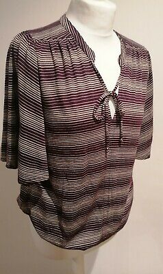 Monsoon Top Burgundy And Gold Stripe Flared Sleeved String Tie Neck Size 12  • 9.99£