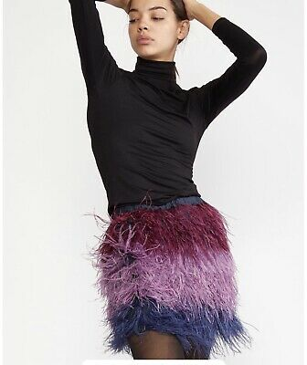 £235.53 • Buy NWT Cynthia Rowley Purple Ombre Ostrich Feather Vera Mini Skirt Size 4