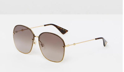 AU140 • Buy Gucci GG 0228S  Gold/Brown Gradient Sunglasses Pre-owned Very Good Condition