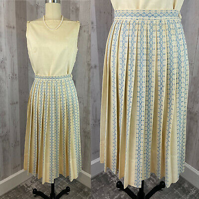 £60.18 • Buy 1940s Vintage 2pc TOP/SKIRT French Blue Ivory Accordion Pleats Outfit Small