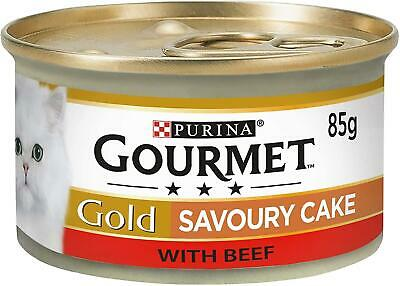 PURINA Gourmet Gold Wet Cat Food SAVOURY CAKE With BEEF Can Adult 85g Pack Of 12 • 8.35£