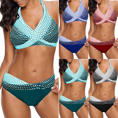 AU24.88 • Buy Women Push-Up Padded Bikini Set Halter Neck Swimwear Swimsuit Bathing Suit Beach