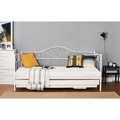 £75.99 • Buy Metal Bed Frame Day Bed With Pull Out Trundle Single Double Sofa Guest Bed