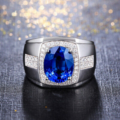 £102.34 • Buy Mens 14K White Gold Over 2.50Ct Oval Blue Sapphire Diamond Engagement Pinky Ring