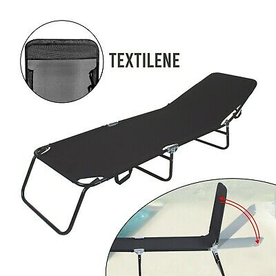 £34.89 • Buy Outdoor Foldable Sun Lounger Recliner Bed Garden Chair Relaxing Camping - Black
