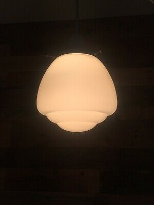 Art Deco Style Opaline Glass Pendant Lamp Shade & Gallery Stepped Ceiling Light • 85£