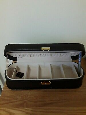 Real Leather Jewellery Case, Large, Dark Brown & Beige Internal, Compartments  • 4.99£