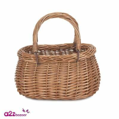 £12.99 • Buy Childs Willow Swing Handle Wicker Coracle Shopping Basket Easter Egg Fancy Dress