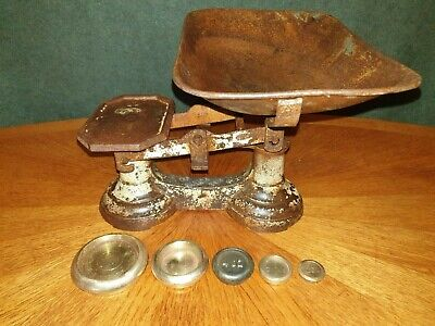 £26 • Buy Victorian Cast Iron Kitchen Scales & Graduated Weights  To Weigh 7lb