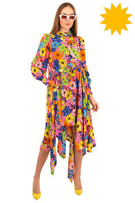 AU101.13 • Buy RRP €1620 PREEN By THORNTON BREGAZZI Handkerchief Dress Size S Floral Ruffle