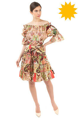 AU101.13 • Buy RRP €980 ETRO Hippie Dress Size 42 / M Floral Ruffle Off Shoulder Made In Italy