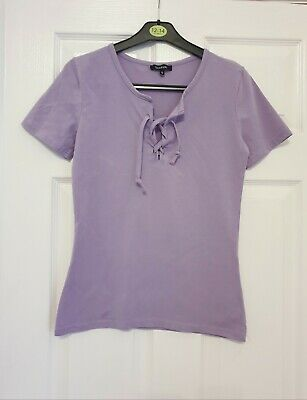 Lilac Tie Front Top Size 10 Boohoo • 0.99£