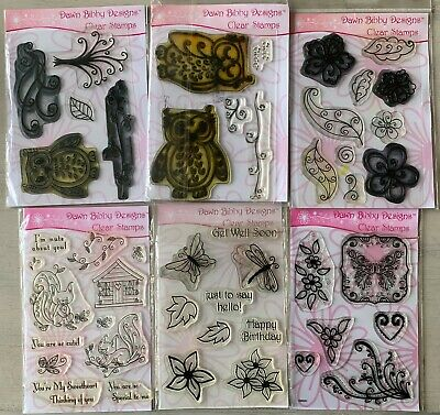 Dawn Bibby Clear Stamps X 6 Packs - Animals, Flowers, Flourish, Leaves, Words • 6.99£