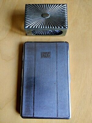 Vintage Mid-20th Century Cigarette Case & Matchbox Holder, Engine Turned Steel • 6.50£