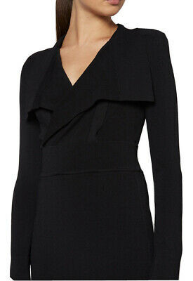 AU350 • Buy Scanlan Theodore Black Drape Front Crepe Knit Dress Size M