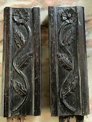 £50 • Buy 18th Century Carved Oak Leaves And Daisy Flower Panels