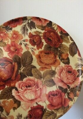 Large Round Vintage Keswick Heat Stain Resistant Tray Orange Peach Roses Floral  • 9£