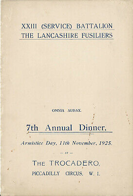Military, The Lancashire Fusiliers, XXIII (Service) Battalion, 7th Annual Dinner • 5£