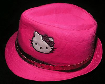£11.35 • Buy Girls Hat Sz Sm Or Med Applique Hello Kitty Fedora Sequin Band Felt Hot Pink