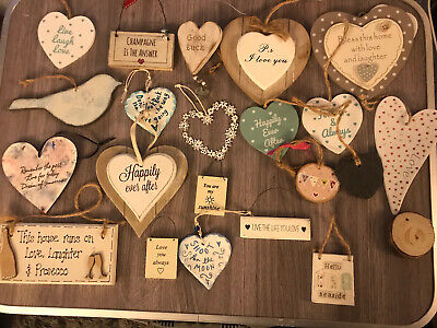 Shabby Chic Heart And Love Home Hanging Decorations Bundle Wedding Twig Tree • 5.50£