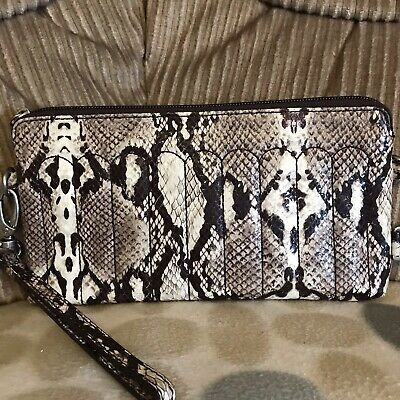 Il Tutto Olivia Leather Clutch Bag Snake Print • 20£