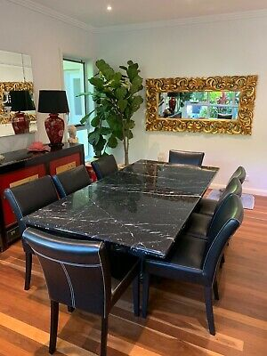 AU999 • Buy Marble Dining Table And 8 Leather Chairs In Fantastic Condition