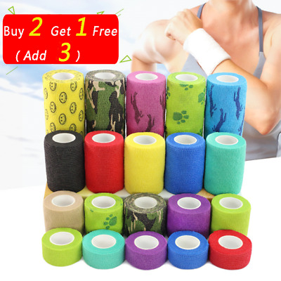 4.6m Self-adhesive Sport Elastic Wrist Finger Bandage Tape First Aid Strap Band • 3.20£