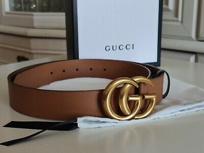 AU281.58 • Buy Gucci Marmont Brown Strap Gold Double G Leather Belt Size 95/38