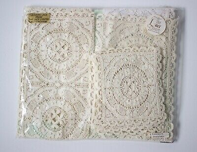 Vintage Genuine Cream Leavers Lace From Nottingham. 6 Table Mats And 6 Coasters • 15.99£
