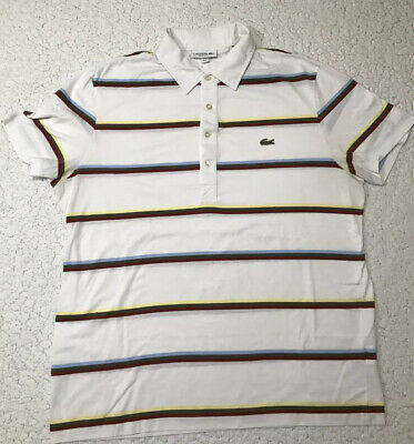 Lacoste Regular Fit White Striped Polo Shirt XL • 11.99£