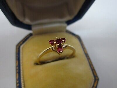 £99.95 • Buy A Very Pretty Ladies 9ct Gold Diamond & Purple Spinel Flower Ring Size K, 1.5g