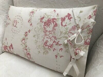 Cabbages And Roses Bees Pink Linen Fabric Cushion Cover With Tie Closing • 25£