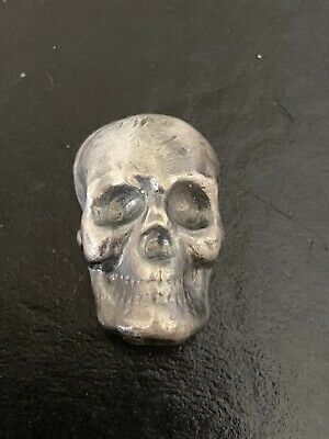 🔥☠️ YPS Yeager Silver Skull Antiqued 1 Oz Poured Bar Ingot Cast .999 Fine ☠️🔥 • 31.47£