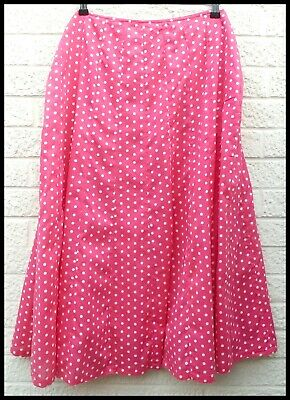 ADINI Skirt Pink & White Spot Polka Dot Cotton Flared Skirt Size 16 UK/L1 • 3.99£