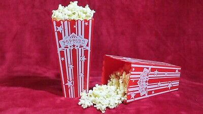 Popcorn Holder / Cup Retro - Set Of 4 Red And White Good Size Plastic Washable • 11.99£