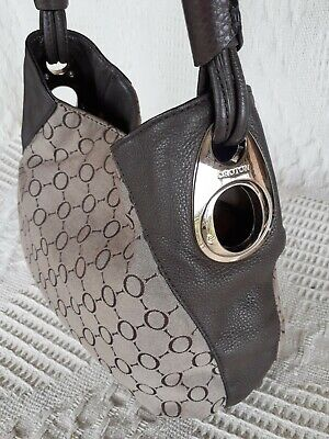 AU39 • Buy OROTON Bag Genuine Leather / Fabric Ladies Hand Bag Brown Beige Shoulder Bag