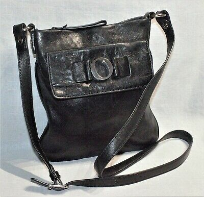 AU25 • Buy RRP$295 OROTON Small Black Leather O Logo Paddington Crossbody/Hip Bag/Handbag